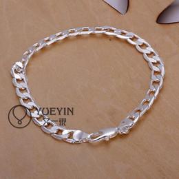 Cool Men's Bracelets jewelry 925 Silver plated 6MM Men's Curb Chain Bracelet Silver Men's Bracelet Hot Sale 10pcs