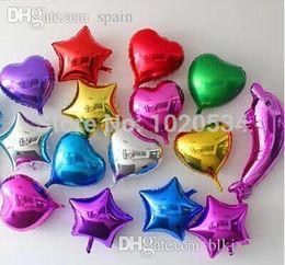 Globos del corazón en Línea-100pcs por mayor-Venta al por mayor / lot en forma de corazón de 5 pulgadas y la estrella del papel de aluminio Balloon Fiesta decoración de la boda Suministros globo de helio