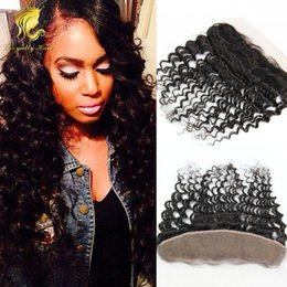 Wholesale 7A13x4 Indian Human Hair deep Curl Frontal Closure With Bleach knots Ear to Ear Lace Frontal With Baby Hair middle free part