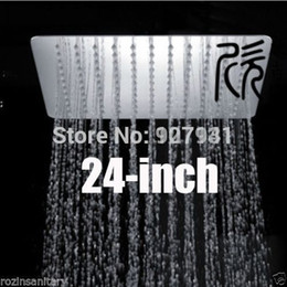 24 inches Square Stainless Steel Overhead Rain Shower Head Bathroom Top Shower Head Polished Chrome