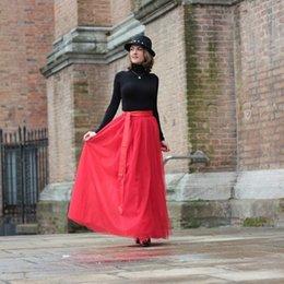 Wholesale Best Gift For Your Lover Valentine Day Custom Made Long Red Tulle Skirt Fashion Floor Length Skirts For Women Ribbon Sash Skirt