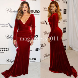 2019 Plus size Burgundy Mother of the Bride Dress Long Sleeves Mermaid Velvet Red Carpet Celebrity Dress