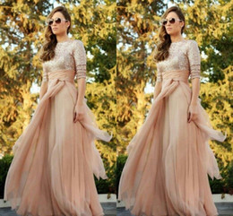Wholesale Long Pink Sparkly Dress - 2016 Sparkly Sequined Top Long Sleeves Cheap Maid of Honor Gowns A Line Ruffles Sweep Train Sexy Crew Neck Bridesmaid Prom Dresses
