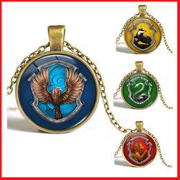 Wholesale 8 colors Harry Potter necklaces Hogwarts Gryffindor Ravenclaw Hufflepuff Slytherin glass time gem cabochon necklaces pendants
