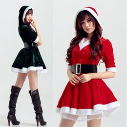 Wholesale 2015 Women Dress Tunic Christmas Sexy Cosplay Lovely Costumes Role play Role play animated cartoon Costumes Cosplay contain belt