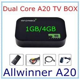 Wholesale Android TV Box A20 Dual Core Mini PC RJ45 USB WiFi XBMC Smart TV Media Player AV Port with Remote Controller NOBT GB GB Flash DHL