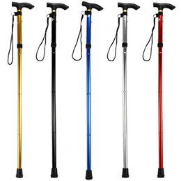 Wholesale Folding Trekking Poles Adjustable Metal Walking Stick Cane Ergonomic Handle Aluminum Column Non slip Rubber Base Outdoor Climbing Hills Gear