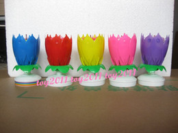 pink,red,purple,yellow,Blue Rotatable Beautiful Musical Blossom Lotus Flower Birthday Candle Hot