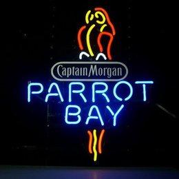 Wholesale 17 quot x14 quot Captain Mogan Parrot Bay Spiced Rum Beer Ba Design Real Glass Neon Light Signs Bar Pub Restaurant Billiards Shops Display Signboards