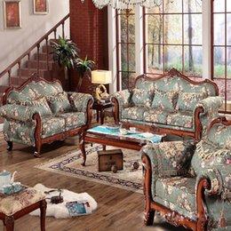 European Oak Luxurious villa fabric Sofa combination living room furniture American classical Sofa