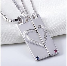 New 925 Sterling Silver Lover Pendant Heart Vintage Choker Jewelry Gift With Crystal For wholesale Free Shipping