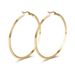 Gold Big Hoop Earrings in Stainless Steel Women Fashion Jewelry