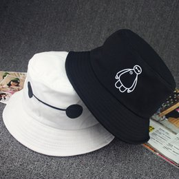 Wholesale-2015 summer fashion leather bucket hats cartoon white patterned hat travel cap visor hat adult size men and women casual