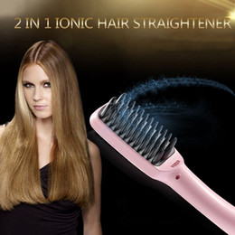 2016 2 in 1 Ionic Hair Straightener Comb Irons Automatic LCD Display Straight Hair Brush Comb Straightening Pink Black by DHL