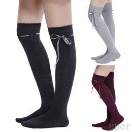 Wholesale-New Fashion Girls Women Casual lovely Bowknot Socks Cotton Knit Leg Warmers Socks over Knee High Socks