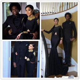2019 African Americans Vintage Long Sleeves Prom Dresses Mermaid High Neck Black with Gold Appliques Long Satin Evening Gowns Arabic