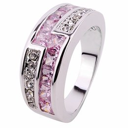 Wholesale 50 off discount Top Quality Jewellery Pink sapphire lady s KT white Gold Filled Ring size5
