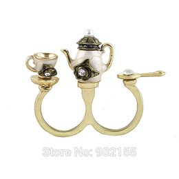 Wholesale Charming hot sale rhinestone coffee kettle cup antique double finger rings