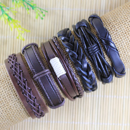 High quality Handmade Mens and Women Bracelets Wrap Multilayer Genuine Leather Bracelet with Braided Rope Fashion Jewelry -TD59