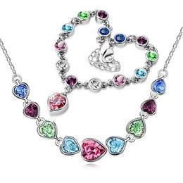 Boutique Necklace Bracelet Jewelry Set Heart Shape Wedding Jewelry Crystal Pendant Women Best Gift Fashion Jewelry 8199