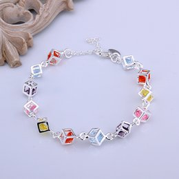 Wholesale Fashion Charm Color Crystal Bracelets For Women With CZ Stone Silver Jewelry Box Crystal Braclet pulseras mujer vintage H220