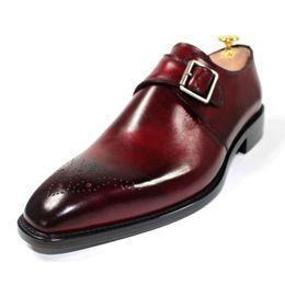 Men Dress shoes Custom handmade shoes Monk shoes genuine calf leather color Burgundy buckle Strap HD-J027