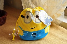 Wholesale 2014 new sale plush backyardigans plush cartoon two eyes minion despicable me drawstring draw string cord bag cm