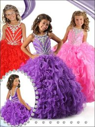 2016 Purple Pink Red Hi Lo Flower Girl Dresses Square Crystal Girls Dresses Princess Ball Gown Pageant Dress Custom Made