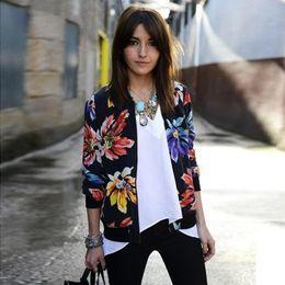 2015 New Fashion Spring Autumn Women Jacket Floral Printed Short Jackets Women Long Sleeve Zipper Coat Outwear