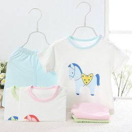 Summer Newborn Baby Clothing Set for 0-24M100% Cotton cartoon short sleeve t shirt and shorts twinset baby clothing factory