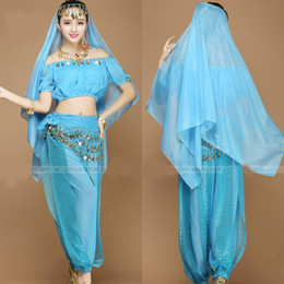 Wholesale New Women Halloween Cosplay Party Wedding Belly Dancer Aladdin Princess Jasmine Costume Adults