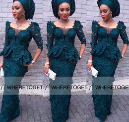 Nigerial Lace Evening Gowns Dark Green Half Sleeves Illusion Neckline Mermaid Floor Length Sexy Aso Ebi Style Prom Dress 2019 Custom Made