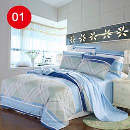 Wholesale 2015 New Cotton Comforter Set Diagonal Printing Bedding Sets Duvet Cover Bed Sheet Pillowcase Home Textile Bedding Set