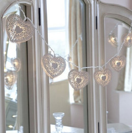Wholesale White Metal Heart Battery Fairy String LED Lights with Timer Warm White LED by Festive Lights