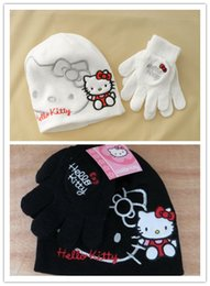 Wholesale kitty cat Acrylic hats crochet pattern new kitty Children cartoon winter knitted caps gloves set kids christmas gift