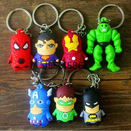 Wholesale Marvel Avengers Superhero Keychains Zootopid kitty Minions Flashman Superman Batman Ironman Spiderman Silicon Key Chains Keyring Key Ring
