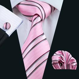 Lazo formal de color rosa en venta-Rosada de la boda de la raya para hombre corbata de seda jacquard Juego del pañuelo de las mancuernas de la manera formal tejido clásico corbata N-0295