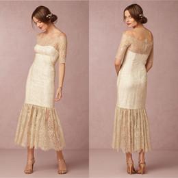 Bhldn 2015 Summer Beach Wedding Dresses Sheath Lace Half Sleeves Bridal Gowns With Off Shoulder and Back Zipper Tea Length Champange EN60623