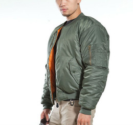Fall-Mens U.S Army  Classic Bomber Flight Jacket Pilot jacket Tactical Jacket Orange Lining For Rescue Purpose