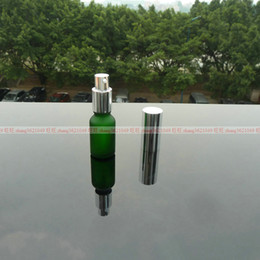 15ml green frosted Glass lotion Bottle With aluminum shiny silver pump.for lotion and essential oil. lotion container