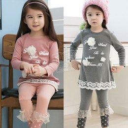 2016 autumn letter flower girls clothing child long-sleeve T-shirt legging set Free Shipping