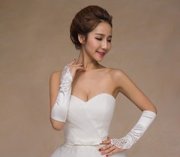 Wholesale 2016 Cheap New Sexy Fingerless Gloves Accessories White Beaded Sequins Women Wedding Gloves Below Elbow Length Appliques for Wedding Party