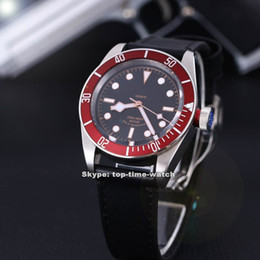 Wholesale Brand New Luxury High Quality Black Bay Auto Gents Watch R Red Bezel Black Dial Automatic Mechanical Men s Best Sports watches