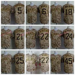 Wholesale 2015 Camo Pittsburgh Pirates Jerseys Josh Harrison Starling Marte Roberto Clemente Andrew McCutchen Alvarez Polanco camo Jersey