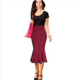 Lcw New Nice Womens Vintage Pinup Elegant High Waist Slim Cocktail Party Wear To Work Mermaid Pencil Fitted Bodycon Midi Skirt