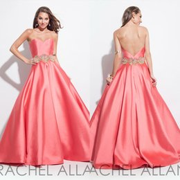 Pink Evening Prom Dresses Sweetheart Charming Backless A Line Sweep Train 2016 Spring Beaded Rachel Allan Long Homecoming Party Gowns Zipper