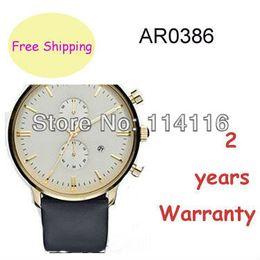 Wholesale New Arrival AR0386 AR Mens Leather Strap Chronograph Watch Gents Gold Casw Wristwatch Original box