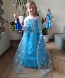 Nouvelles robes de filles de noël en Ligne-50pcs bon marché robe d'été 2014 fille filles costume de princesse robe de soirée anna bébé robe tutu elsa nouvelle robe gelée rose de Noël