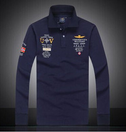2016 7 Models aeronautica militare camisa masculina polo mens Long sleeve Polo shirt brands Air force one shark solid polo shirt