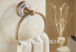 Wholesale Newly US And Retail Vintage Antique Brass Bathroom Towel Ring Towel Hang Towel Rail Wall Mounted